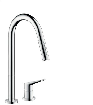 Chrome 2-hole single lever kitchen mixer with pull-out spray Product Image