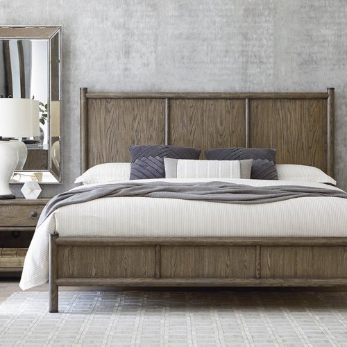 Cal King/Burley Brown Peninsula Panel Bed