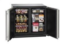 """36"""" Solid Door Refrigerator Stainless Solid Double Doors"""