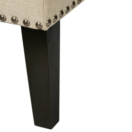 Tufted Nailhead Trim Entryway Bench in Beige Sateen