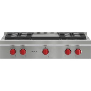 "Wolf36"" Sealed Burner Rangetop - 4 Burners and Infrared Griddle"