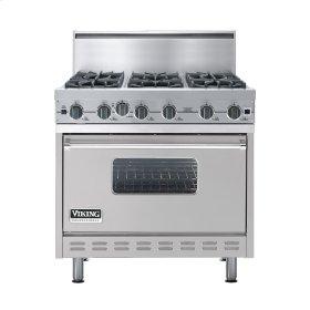 "Metallic Silver 36"" Open Burner Commercial Depth Range - VGRC (36"" wide, six burners)"