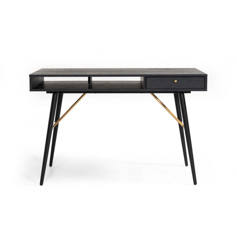 Modrest Billy Modern Black Oak & Gold Desk