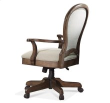 Belmeade Round Back Upholstered Desk Chair Old World Oak finish