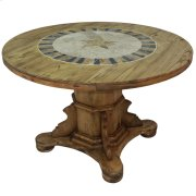 "Round Ped Table W/Stone & Star : 48"" x 30"" x 48"" Round Dining Tables W/Stone Product Image"