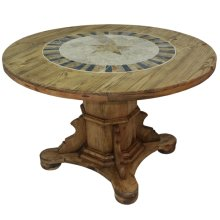 """Round Ped Table W/Stone & Star : 48"""" x 30"""" x 48"""" Round Dining Tables W/Stone"""