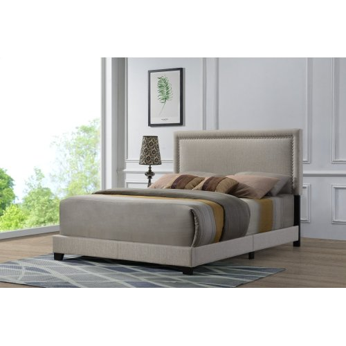 Emerald Home Upholstered King 6/6 Headboard-footboard-siderails Beige #linen #m10084