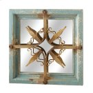 Distressed Blue & Gold Star Square Wall Mirror. Product Image