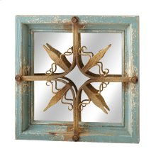 Distressed Blue & Gold Star Square Wall Mirror.