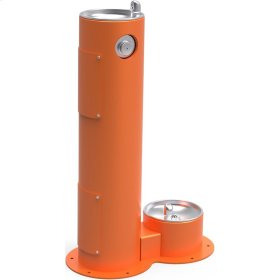 Elkay Outdoor Fountain Pedestal with Pet Station, Non-Filtered Non-Refrigerated, Freeze Resistant, Orange