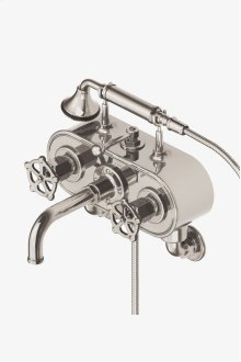 Regulator Exposed Wall Mounted Tub Filler with Handshower and Metal Wheel Handles STYLE: RGXT21
