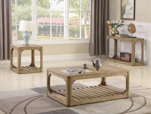 Emerald Home Barnwood Rectangular Cocktail Table W/bottom Slat Shelf and Casters-caramel-t121-00