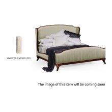 Cali King Louis XV Limed Tulip Bed, Upholstered in Duck Egg Silk