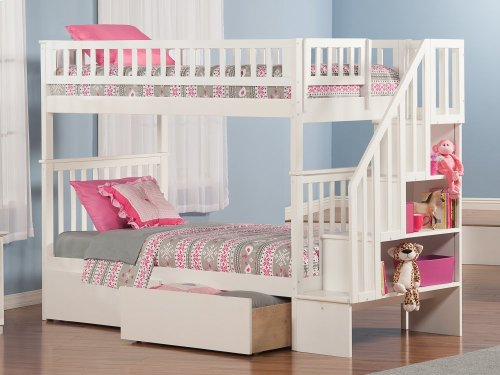 Woodland Staircase Bunk Bed Twin over Twin with Urban Bed Drawers in White