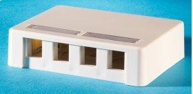 Surface mount box, holds four Keystone jacks or modules