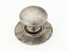"Solid Brass, Symphony, Sunburst, Round Knob w/Backplate, 1-1/4"" diameter, Silver Antique finish"