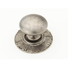 "Solid Brass, Symphony, Sunburst, Round Knob w/Backplate, 1-1/4"" diameter, Silver Antique finish"