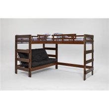 Heartland L-Shaped Futon Triple Bunk Bed with options: Chocolate, 2 Twins Over Futon