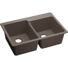 "Elkay Quartz Classic 33"" x 22"" x 9-1/2"", Offset Double Bowl Drop-in Sink, Greige"
