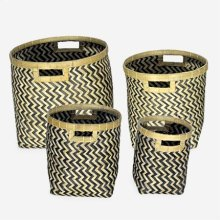 Patterned Woven Containers- Set of 4 - Brown & Black