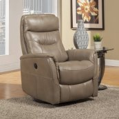 Gemini Linen Power Swivel Glider Recliner with Articulating Headrest and built-in battery pack