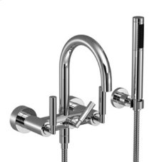Tub mixer for wall-mounted installation with hand shower set - chrome