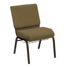 Wellington Khaki Upholstered Church Chair with Book Basket - Gold Vein Frame