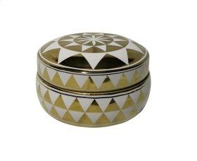 """White/gold Triangle Design Box, 7"""""""