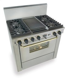"36"" Dual Fuel, Convect, Self-Clean, Sealed Burners, Stainless Steel with Br"