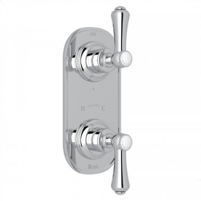 "Polished Chrome Perrin & Rowe Georgian Era Trim For 1/2"" Thermostatic/Diverter Control Rough Valve with Georgian Era Metal Lever With Porcelain Cap"