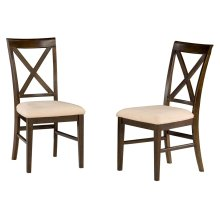 Lexi Dining Chairs Set of 2 with Oatmeal Cushion in Walnut