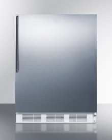 ADA Compliant Freestanding All-refrigerator for Residential Use, Auto Defrost With White Cabinet, Stainless Steel Wrapped Door, and Thin Handle