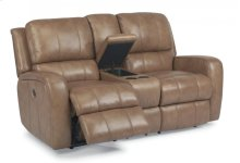 Hammond Leather Power Reclining Loveseat with Console
