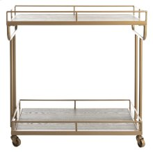 Dawson 2 Tier Rectangle Bar Cart - Rustic Oak / Gold