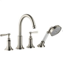 Brushed Nickel 4-Hole Roman Tub Set Trim with Lever Handles and 1.8 GPM Handshower