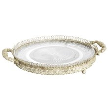 Large Antique Ivory Cake Plate with Handles