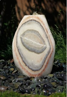 Outdoor Fountain: Small Pebble Fountains Multi Color Onyx
