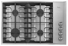 """Stainless Steel Whirlpool Gold® 30"""" Built-In Gas Cooktop"""