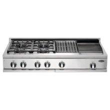 """48"""" Cooktop, 4 Burner w/Griddle & Grill"""
