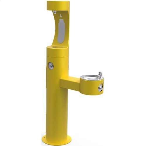 Elkay Outdoor ezH2O Bottle Filling Station Bi-Level Pedestal, Non-Filtered Non-Refrigerated Freeze Resistant Yellow