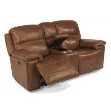 Fenwick Leather Power Reclining Loveseat with Console and Power Headrests