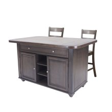 Sunset Trading 3 Piece Antique Gray Kitchen Island Set  Grey Tile Top