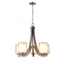 5-Light Single Tier Modern Chandelier in Brushed N