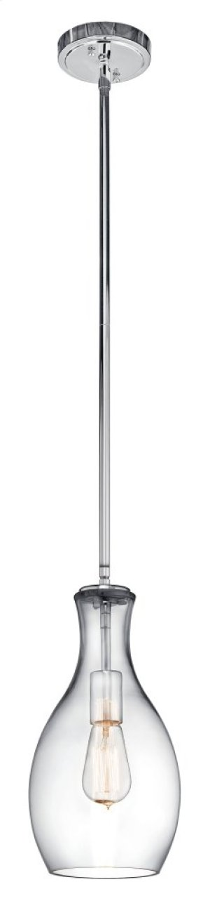 Everly 1 Light Pendant Chrome with Clear Glass