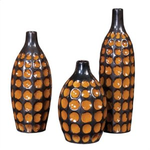 Contrasting Black & Lotus Orange Ceramic Vases - set of 3