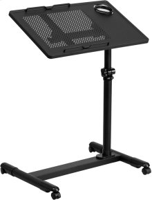 Black Adjustable Height Steel Mobile Computer Desk
