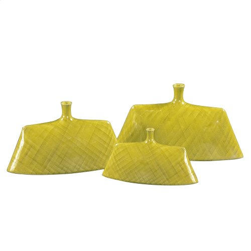 Chartreuse Green Glaze Ceramic Vase Set