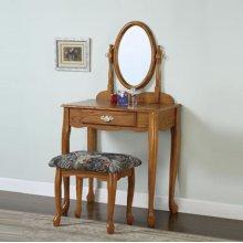 """""""Nostalgic Oak"""" Vanity, Mirror & Bench (G)"""
