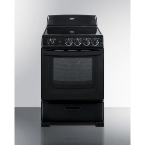 "Summit24"" Wide Smooth-top Electric Range In Black, With Lower Storage Drawer and Oven Window; Available Winter 2018 To Replace Model Rex243b"