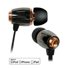 Black Chrome and Copper in-ear stereo headphones by Bell'O Digital with Apple® remote and slim protective case